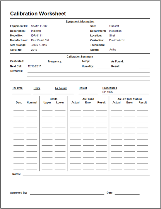 Blank Calibration Worksheets