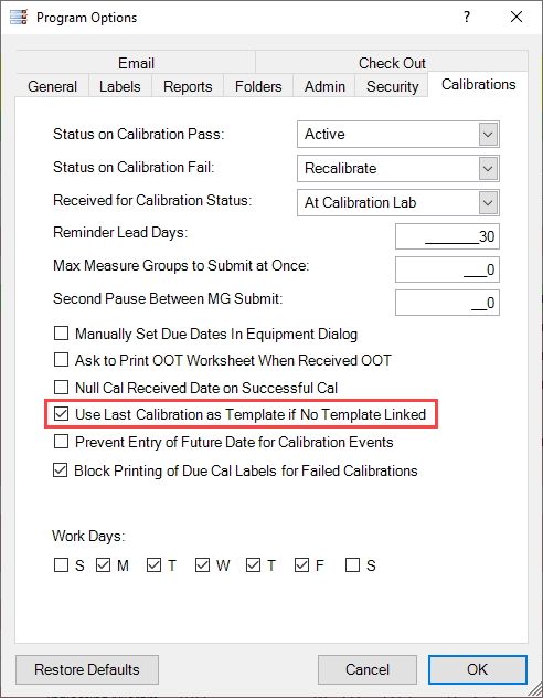 Calibrations Tab in Program Options