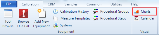 Calibration Charts in the Menu Ribbon